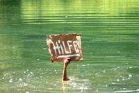 """Hand hält Schild aus dem Wasser. Aufschrift: """"Hilfe"""""""