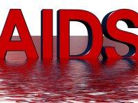 """Roter Schriftzug """"AIDS"""""""