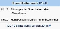 Xerostomie, ICD-10-Bezeichnung