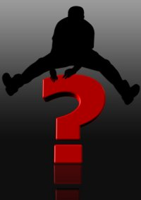 Grafik: Mann springt über Fragezeichen